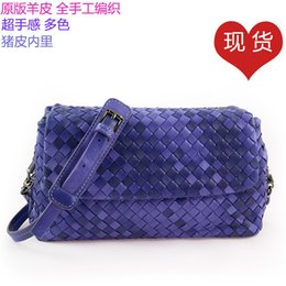 Purple Travel Pillow NZ - Belle2019 Weave Sheepskin Package Genuine Leather Woman Baotou Layer Hand Take Single Shoulder Satchel Match Mirror