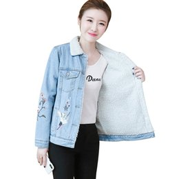 Wholesale 2019 New Denim Cotton Coat Embroidered Loose Plus Velvet Thick Jacket Female Autumn Winter Short Popular Big Size Jacket JIA363