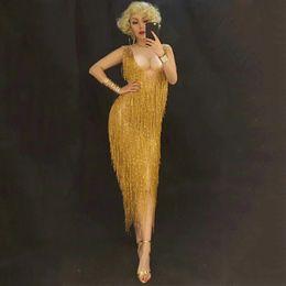 $enCountryForm.capitalKeyWord NZ - Golden Tassel Rhinestone Dress Stage Dance Wear Sexy Nightclub Prom Dancing Costume One-Piece Outfit Performance Clothing DJ320
