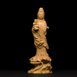 Carved Wood Gifts Australia - Wood carving Buddha statue God Gift solid wood craft Feng shui Decoration Figurine Miniature
