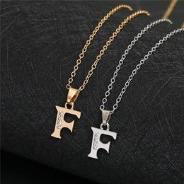 pendant letters gold 18k Australia - English Alphabet -F gold silver Family friend Name Letters Sign Word Chain Necklaces Tiny Initial Letter pendant Necklace jewelry