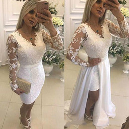 lace knee length one piece dress NZ - Newest 2019 White Lace Short Prom Party Dresses With Detachable Skirt Knee Length V Neck Long Sleeves Special Occasion Prom Cocktail Gowns
