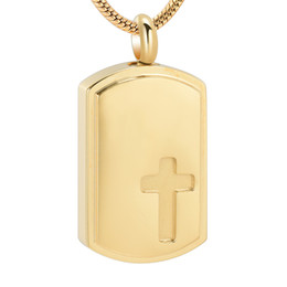 red rectangle pendant Australia - IJD10325 Gold Color Rectangle Shape Dog Tag Ashes Urn Necklace with Screw Hold Loved Ones Ashes Cremation Jewelry Pendant