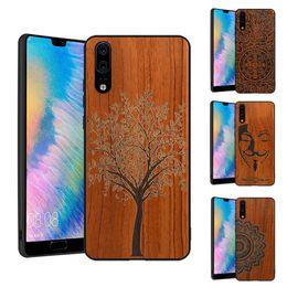 wood bumper case 2019 - 2018 New Huawei P20 Lite P20 Pro Case Slim Wood Back Cover TPU Bumper Case For Huawei P20 P20Pro Plus Phone Cases Nove 3