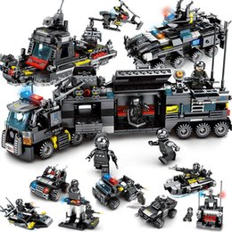 China 8pcs lot LegoINGs SWAT City Police Truck Building Blocks Sets Ship Helicopter Vehicle Creator Bricks Playmobil Toys for Children cheap toys playmobil suppliers