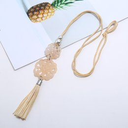 rope chain gold tassels Australia - Statement retro acrylic jewelry choker necklace women Rope chain leather tassel pendant custom wholesale accessories 2019