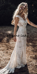 Boho long skirt dress online shopping - Vintage Bohemian Wedding Dresses with Sleeves Hppie Crochet Cotton Lace Boho Country mermaid Bridal Wedding Gown