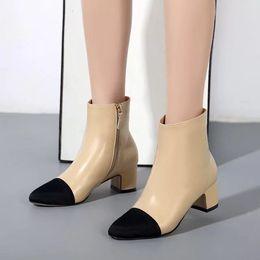 Опт свободный корабль! GG 34/40 натуральная кожа крышка носок пятки короткие сапоги бежевый черный мода мода выбор