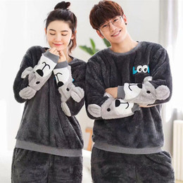 Pajamas for couPles online shopping - Cute Animal Flannel Pattern Winter Couples Pajamas Set For Women Men Plush Fabric Sleepwear Pyjamas Suit Home Clothing MX190724