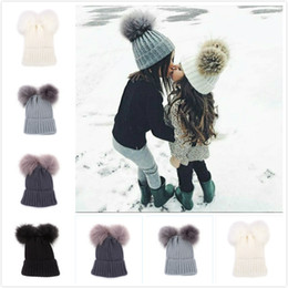 d8de4b405ee Double Fur Ball Beanie Parent Child Knit Crochet Fur Pom Ski Cap Winter Warm  Pom Pom Hat Party Hats 120pcs OOA6010