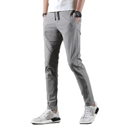 water resistant pants NZ - wholesale 2019 New Fashion Solid Pants Men Slim Fit Casual Length Streetwear Suit Pant Trousers Men Clothing For
