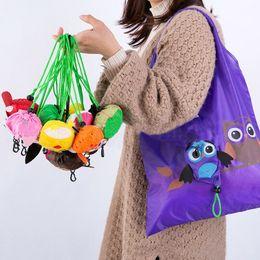 Cartoon Foldable Shopping Tote Australia - Reusable Foldable Ladies Shopping Bag Animal Tote Handbag Fold Away Bag Cartoon Cute Shopping