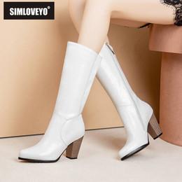 $enCountryForm.capitalKeyWord Australia - SIMLOVEYO 2020 Western Cowboy boots Mid calf Pointed toe Zipper Leather Block Heel Booties mujer SuperLarge size 52 Black B1466