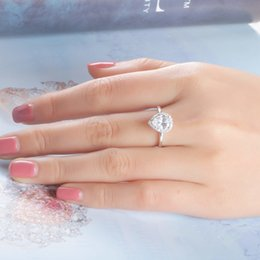 Wholesale Sterling Silver Bridal Rings Australia - Brand Real Silver 925 sterling Bridal Cubic Zircon ring For Women Solitaire Engagement Wedding ring sets Party Brand Jewelry Rings