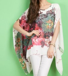 Wholesale white batwing blouse for sale - Group buy Blusas Feminino New Summer Casual Fashion Floral Women Ladies Sexy Batwing Sleeve Loose Chiffon Floral Printed Blouse Tops
