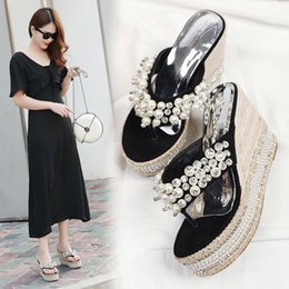 $enCountryForm.capitalKeyWord Australia - Pretty2019 Cool Slope Slipper Woman Summer Sandy Beach Joker Pearl Crystal Thick Bottom Flip Flops High With Women's Shoes