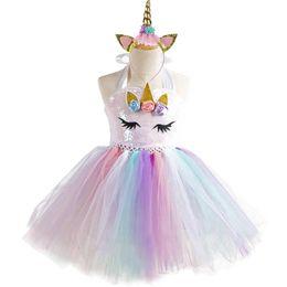 Tutu Boutiques UK - 2019 New Unicorn Girls Dresses kids boutique Princess Dresses sequin Birthday Party Tutu Dresses+Unicorn headband 2pcs kids clothes A3768