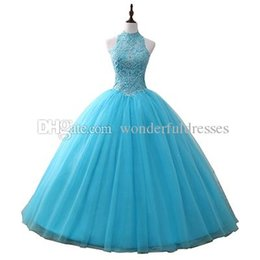$enCountryForm.capitalKeyWord NZ - Blue Vestidos 15 Anos Crystal Tulle Ball Gown Quinceanera prom Dresses 2017 Sweet 16 Dresses Debutante Gown Cheap Quinceanera Dress