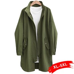 ingrosso trincea verde dell'esercito-Plus Size Army Green Button Zip Streetwear Trench XL XL Tasche Turn Down Collar Casual cappotto lungo