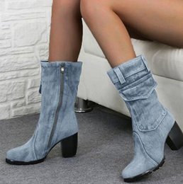 lady snow boots mid calf Australia - Women Fashion Retro Denim Mid Calf Boots Women's Zip High Thick Heels Ladies Casual Sewing Woman Soft Comfortable Female 2020