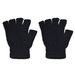 $enCountryForm.capitalKeyWord UK - Casual Autumn Winter Men women Gloves Black Knitted Stretch Elastic Warm Half Finger Fingerless Gloves Mittens Male