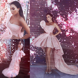$enCountryForm.capitalKeyWord Australia - High Low Pink Prom Dresses Dubai Style Arabic Long Train Ruffle Pageant Party Gowns Strapless Cocktail Evening Red Capet Dress