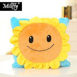 Toy Pillow Blanket Australia - Dropshipping Millffy Plush Toys Sunflowers with Blanket Soft Cushion Pillow Stuffed Toy for Kids Children Gifts