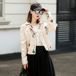 Beige Motorcycle Jacket Australia - Punk Style Faux Soft Leather Jacket Women Embroidery Floral Faux Leather Jacket Pu Motorcycle Zipper Outerwear