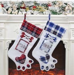 $enCountryForm.capitalKeyWord NZ - Free DHL 19.09*8.66Inch Creative Dog Claw Christmas Tree Pendant Xmas Stocking Gift Bags Non-woven Fabric 2020 Socks Bag Home Decor M125F