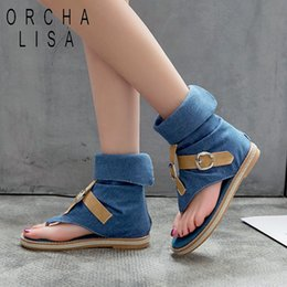 d8409bc0b79c Plus size gladiator boots online shopping - ORCHA LISA Blue Denim shoes  woman buckle Gladiator Sandals