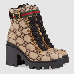 2019 neue Art des Winter 583349 Luxus Frauen Wolle und Tweed-Schnürstiefel Qualitäts populäre Spitzenmarken Lederdamenmode Stiefel (mit Kasten) im Angebot