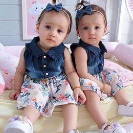 Floral Print Shirts Baby Australia - 2019 New Summer Fashion For Toddler Baby Girls Denim Patchwork Sleeveless Shirts+Floral Print Princess Clothing Set
