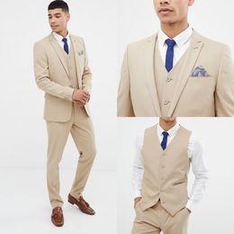 $enCountryForm.capitalKeyWord Australia - 2019 Cool Beige And Fine Notch Lapel Wedding Groom Tuxedos Men Suits Wedding Prom Dinner Best Man Blazer (Jacket+Vest+Pants) SH6211