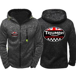 Casual Motorcycle Jackets Australia - Spring Autumn Vintage British Triumph Motorcycle Men Sports Casual Wear Hoodies Zipper Fashion Trend Jacquard Cardigan Jacket Coat Hip Hop