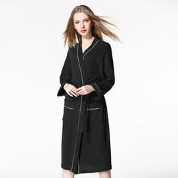 064e9f5279 Winter Women Robes Nightwear Bathrobe Long Robe Soft Belt Negligee Dress  Long Sleeve Black Lady Loungewear Sleepwear nightgown