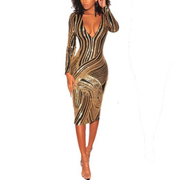 97e72447c5 Geometric Gold Black Wove Tape Sequin Dress Women Sexy Long Sleeve Midi  Dress Ladies Elegant Evening Bodycon Club Party Formal Dress MT2852