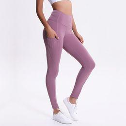 Venta al por mayor de LU-01 No ver a través de cintura alta Nuevas mujeres pantalones de yoga Solid Black Sports Gym Wear Leggings Elastic Fitness Lady Medias completas completas