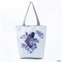bfd0ca13c good quality Casual Cartoon Fish Tote Handbag Female Chinese Traditional  Painting Canvas Shoulder Bag Or Girls Summer Beach Bag