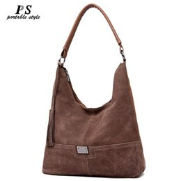 Camel leather tote online shopping - Nice Fashion Women s Handbags Hobo Suede Leather High Quality Shoulder Female Tassel Casual Tote Hand Bags Crossbody Leather Bag