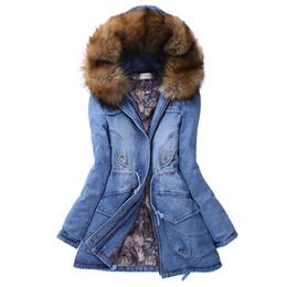 Fur collar jacket slim waist online shopping - 2018 Women Jacket jean Denim JACKET Wash scrub Cowboy Vintage Big Fuax Fur Collar Hooded Fashion Winter Thick Warm Coats Outwear Hot Sell