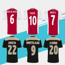 5bcfda1bd Футбольные майки Ajax home red white 18 19 Ajax футболка 2019   10 TADIC   34  NOURI   25 DOLBERG футбольная форма S-4XL