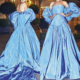 Blue Prom Dresses White Bow Australia - Modest Taffeta Prom Dresses Long Strapless lantern sleeves A Line Celebrity Party Dress With Big Bow Back Sexy Women Evening Gowns