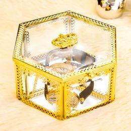 $enCountryForm.capitalKeyWord Australia - Golden transparent Jewelry Watches Display Storage Square Box Case Glass Inside Container Jewelry Organizer