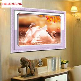 $enCountryForm.capitalKeyWord NZ - DIY 5D Round Diamond Painting Cross Stitch Kits Autumn Lover Swans Animals Diamonds Embroidery Home Decor Diamond Mosaic