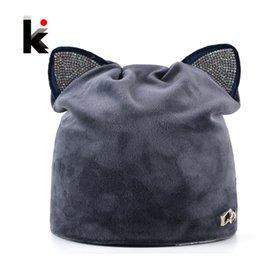 52a36301013 Beanies Ear Flaps Australia - Autumn Winter Women s Beanies Cat Hat Ladies  Warm Velvet Skullies Cap