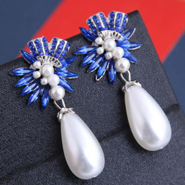 water crystals for plants UK - Simulated Pearl Wedding Jewelry Earrings For Women Water Drop Earrings 2020 Crystal Statement Earings Fashion Jewelry