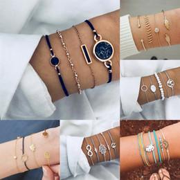 $enCountryForm.capitalKeyWord Australia - Fashion Silver Color Heart Round Beads Charm Bracelets For Women Boho Oval Stone Infinite Chain Bracelets & Bangles