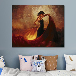 flamenco paintings Canada - Abstract Portrait Painting art flamenco dancer Sevilla Spanish figurative oil paintings on canvas for home decoration hand-painted
