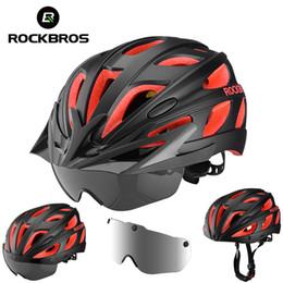Magnetic bicycle online shopping - ROCKBROS Bike Helmet Magnetic Goggles Bicycle Helmet Men Women Cycling Helmets with UV Sun Lens Visor Brim MTB Safety Protect