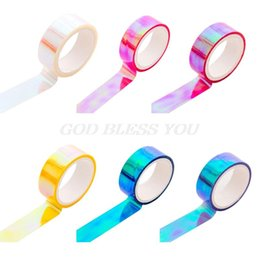 Chinese  Glitter Rainbow Laser Washi Tape Stationery Scrapbooking Decorative Adhesive Tapes DIY Masking Tape 2016 manufacturers